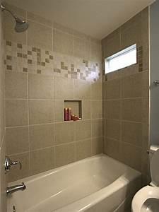 Bathtub tile ideas ceramic tile tub surround with accent for Tub surround tile pattern ideas