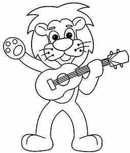 Cartoon Lion Playing The Guitar Coloring Page | Wecoloringpage