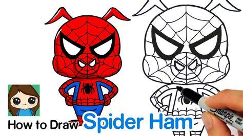 draw spider ham spider man   spider verse youtube