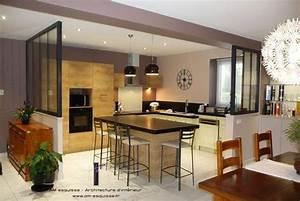 deco salon cuisine ouverte avec verriere listspirit With decoration salon avec cuisine ouverte