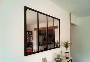 Miroir Style Verriere : miroir style verri re industrielle 100 x 120 cm ~ Melissatoandfro.com Idées de Décoration