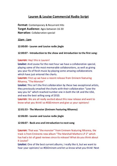 radio script template commercial script