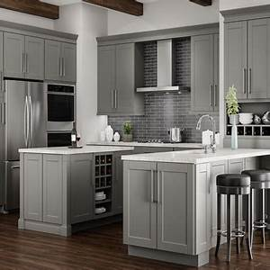 Kitchen cabinets color gallery at the home depot for Kitchen colors with white cabinets with set of three metal wall art