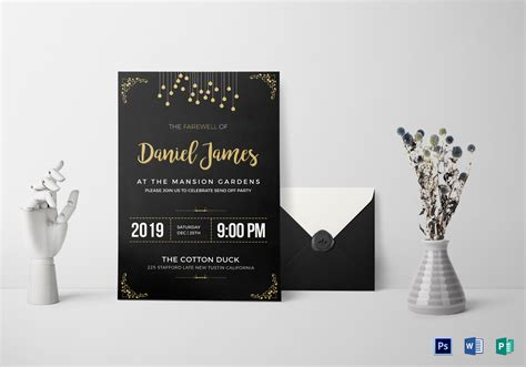 farewell invitation card design template  word psd