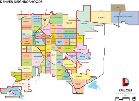 denver neighborhoods map denver mappery