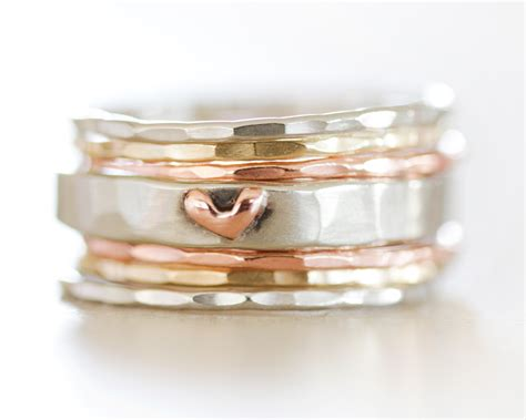 Stacking Ring Set With Heart Ring  Amy Waltz Designs. Rough Cut Engagement Rings. Three Ring Bands. Wire Rings. May Birthstone Bracelet. Girls Bangle Bracelet. Dragonfly Necklace. Rainbow Sapphire. Jewellers Bangles