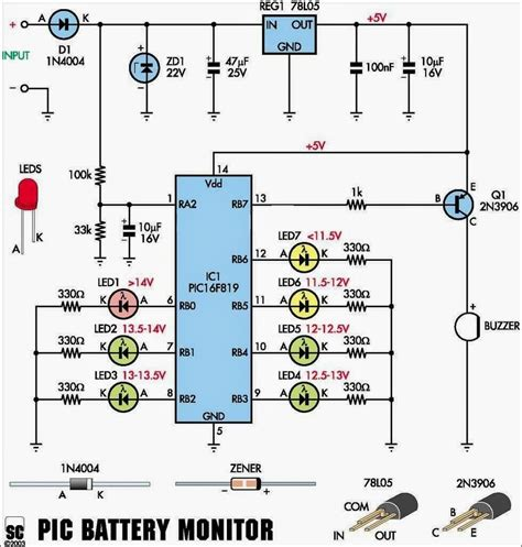 Car Battery Monitor Circuits Projects
