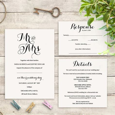 printable wedding invitation rsvp information templates