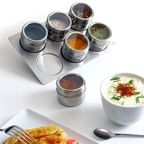 Spice Rack Containers by 6pc Stainless Steel Magnetic Spice Storage Container Jar