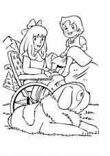 Heidi Coloring Pages Alps Dinokids Heldi Moana Cartoon sketch template
