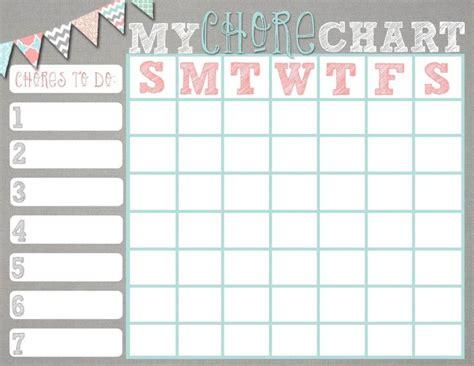 printable chore charts kiddo shelter chore chart