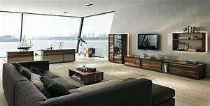 Wooden furniture in a contemporary setting for Gray and brown living room