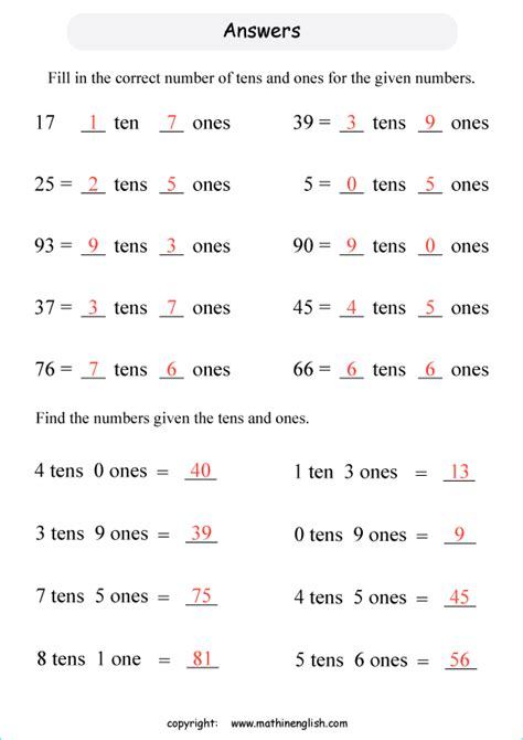digit number fill   number  tens