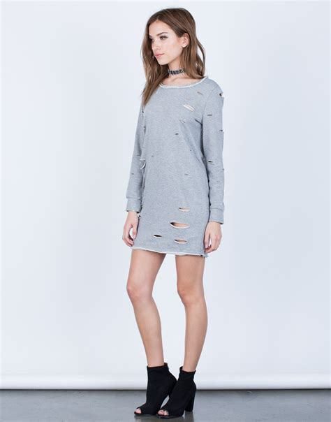 Holey Sweater Dress - Light Gray Dress - Destroyed Sweater Dress u2013 2020AVE