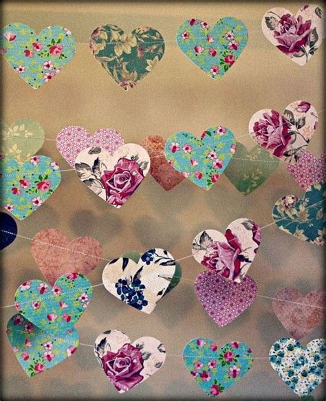 10 metres paper heart garland vintage shabby chic roses