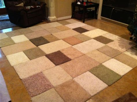 Carpet As Area Rug by Diy Area Rug Made From Carpet Sles And Duck 10ft