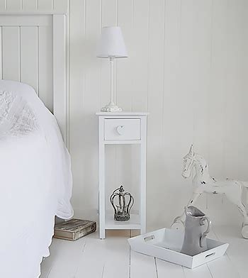 shabby chic white cottage narrow bedside table