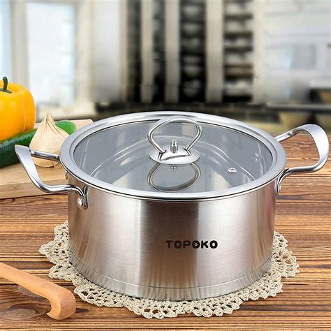 pot soup stainless cooking steel glass quart pots saucepot perfect tempered lid pasta