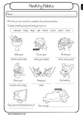 worksheets for grade 1 health healthy habits grade 1 worksheet health lesson plans