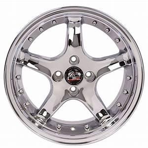 "17"" Fits Ford® Mustang® 4-Lug Cobra R Deep Dish Wheels - Silver 17x8 SET"