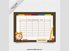 School timetable with materials Vector Free Download