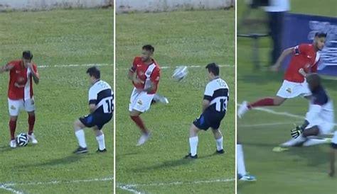 neymar score outrageous rainbow kick goal  steal