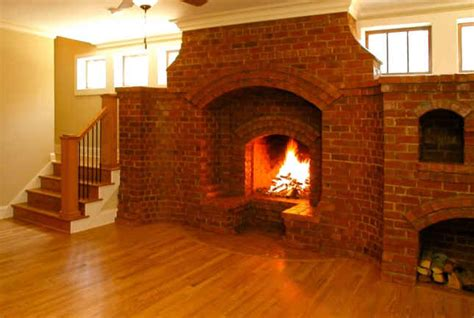 Wide Brick Fireplace-hooked On Houses