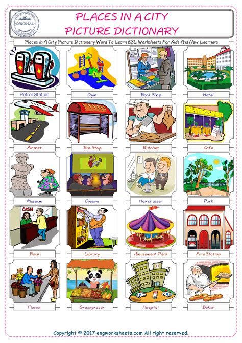 places   city esl printable english vocabulary worksheets
