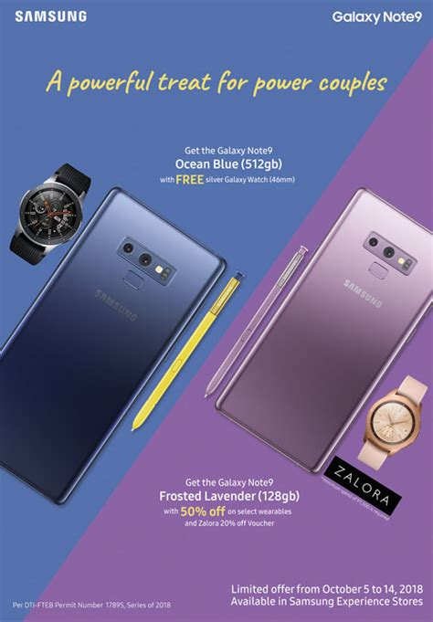 promo alert samsung ph offers limited edition galaxy note 9 in blue and frosted lavender
