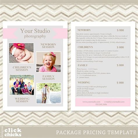 free pricing template for photographers photography package pricing list template price list price