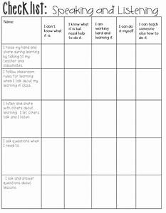 This is a checklist for student speaking and listening in ...