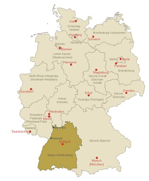 The map shows germany and surrounding countries with international borders, the national capital berlin, capitals of states (bundesländer), major cities, main roads, railroads, and major airports. Map of Germany — Baden-Württemberg state   MindMap of ...