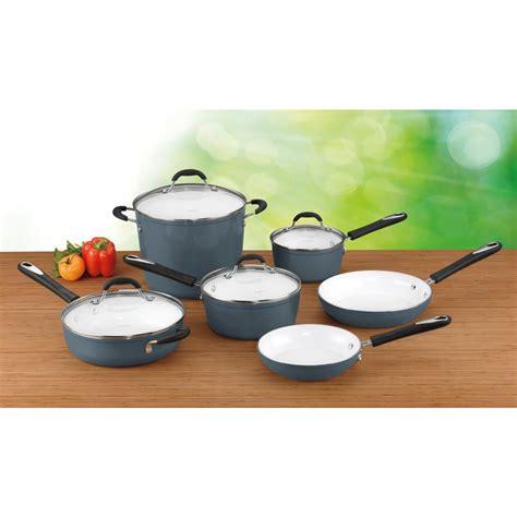 cuisinart  piece elements ceramica polar white  stick cookware set  lids  sb