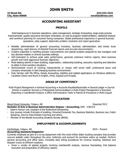 Assistant Management Accountant Resume by Accounting Assistant Resume Template Premium Resume Sles Exle