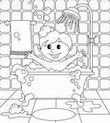 Bathroom Boy Coloring Vector Illustration sketch template