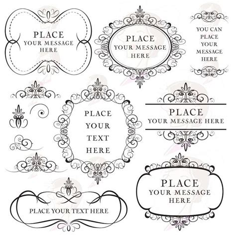 Flourish Frames Clipart Digital Swirls Vector DIY Wedding
