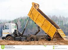 Yellow dump truck stock image Image of building, cutout