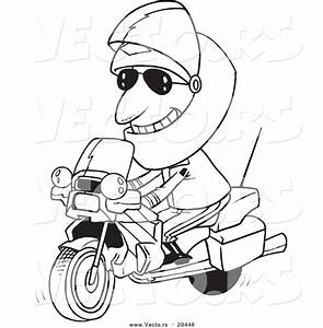 vector of a cartoon motorcycle cop coloring page outline With motorcycle alarm