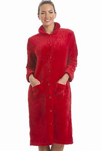 luxury supersoft red button up fleece housecoat With robe boutonnée