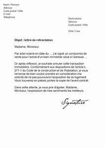 Délai Rétractation Compromis De Vente : lettre de r tractation achat immobilier mod le de lettre ~ Gottalentnigeria.com Avis de Voitures