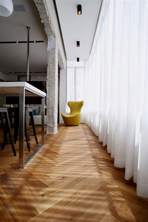 herringbone floors  concrete columns linked  modern