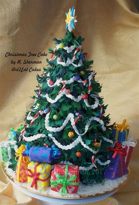 hand  christmas tree cake art  arteat cakes llc