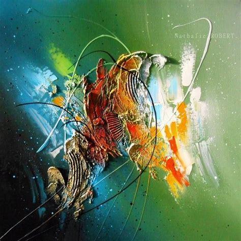 c 233 lan 233 o tableau abstrait moderne contemporain peinture acrylique en relief noir vert bleu
