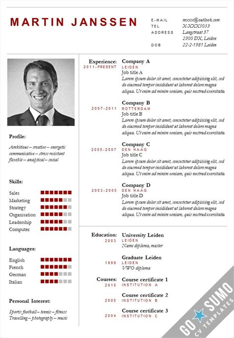 Curriculum Vitae Resume Template by 49 Best Images About Go Sumo Cv Templates Resume