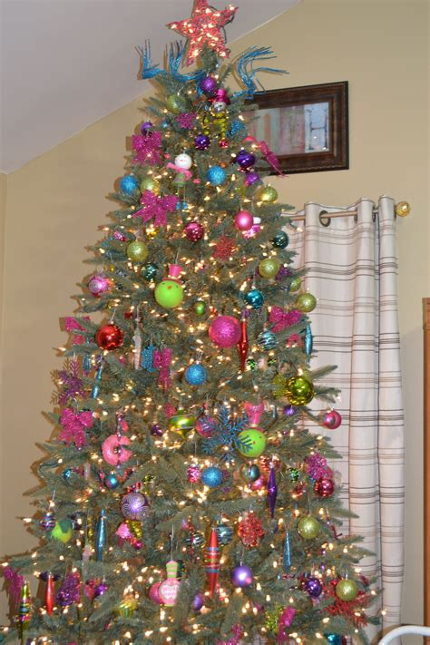 christmas tree  pink purple lime green blue  red