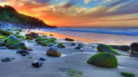 Sunset Ocean Sandy Beach Rocks Green Movi Water Nature 4k