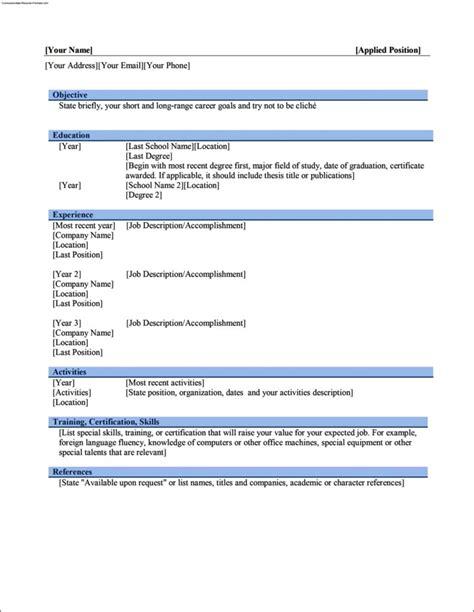 Work Resume Template Word by Work Resume Template Microsoft Word Free Sles