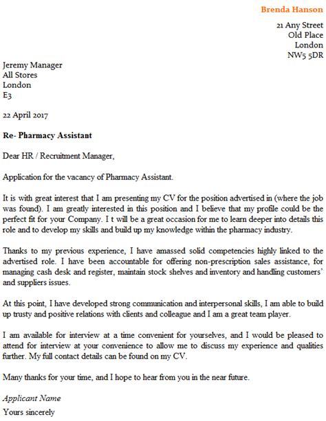 Sle Cover Letter For Pharmacist by Pharmacy Assistant Cover Letter Exle Icover Org Uk