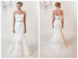 strapless mermaid sweetheart lace wedding dresses with With lace wedding dress with belt