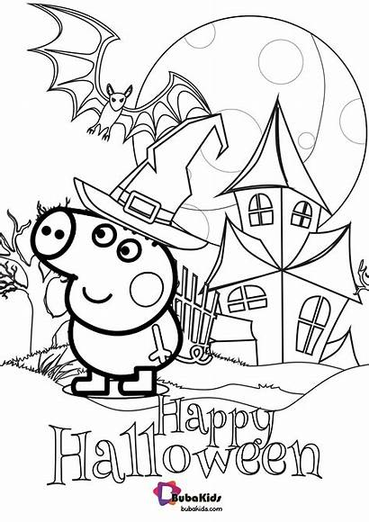 Peppa Pig Coloring Halloween Happy Bubakids Cartoon